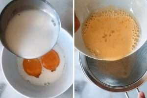 Tempere as gemas com o leite quente e coe