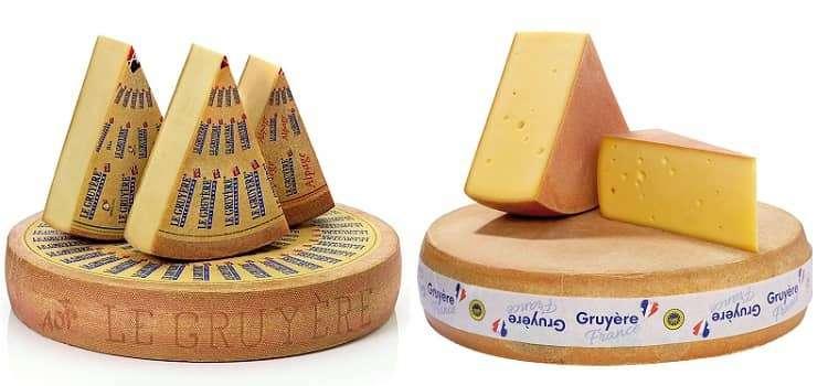 queijo gruyère francês e suíço